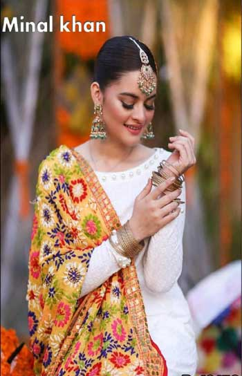 Minal Khan beautiful Lawn with multi Dori work Suit Summer Collection