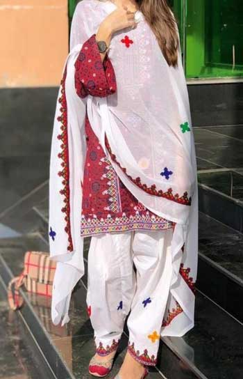 Sindhi Ajrak Lawn Embroidered Suit Summer Collection